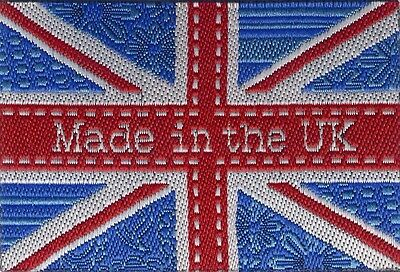Woven Made In The UK Union Jack Garment Labels 35mm x 50mm, Pack of 10