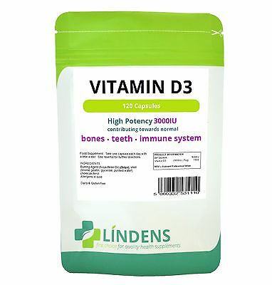 Vitamin D3 3000 IU Capsules (120 pack) Lindens Health Supplements High Strength
