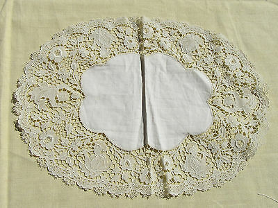Antique Figural Handmade Lace Oval Doily  w Musicians