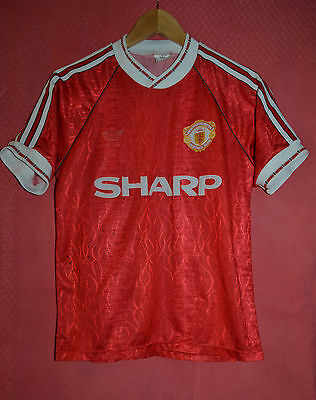 Manchester United 1990/1991/1992 Sharp Home Football Shirt Jersey Adidas Vintage