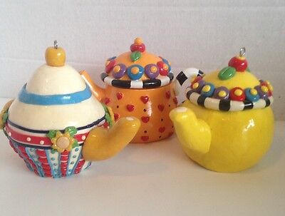 2 Vintage Mary Engelbreit Colorful Decorated Teapot Ornaments & 1 Without Hook