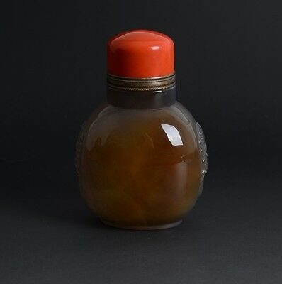 Large Chinese Carved Animal Ears Floating Natural Agate Snuff Bottle-JR11942