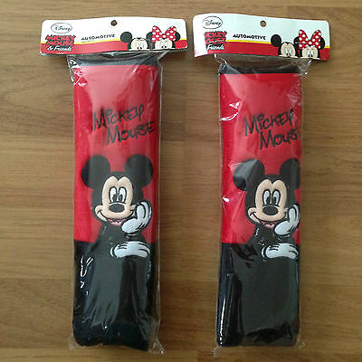 Disney Mickey Mouse Car Accessory Seat Belt Covers 10 inch long (25cm) 2 Pieces.
