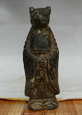 """9"""" Chinese Hongshan Culture Old Jade Mouse Mice Human Military Counsellor Statue"""