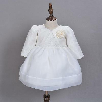 Infant Baptism Lace Tutu Gown Embroidery Baby Christening Dress with Coat 3M-24M