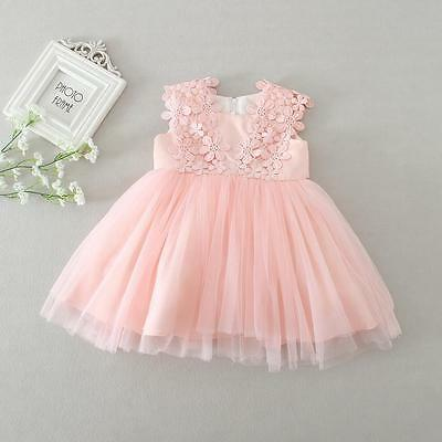 Pink Cute New Born Baby Baptism Dress Christening Lace Gown Dress Party 3-12M
