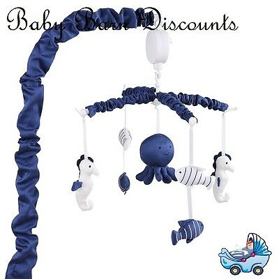 NEW The Peanut Shell Neutical Musical Mobile Navy from Baby Barn Discounts