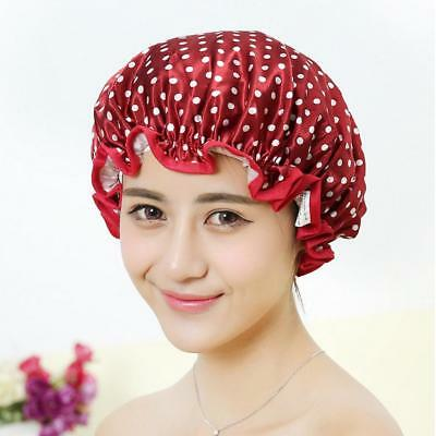 Women's Waterproof Reusable Shower Cap Bath Hat - Red