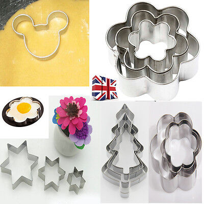 3PCS Fondant Cupcake Pastry Biscuit Different Shape Cookie Cutters Metal MoldSet