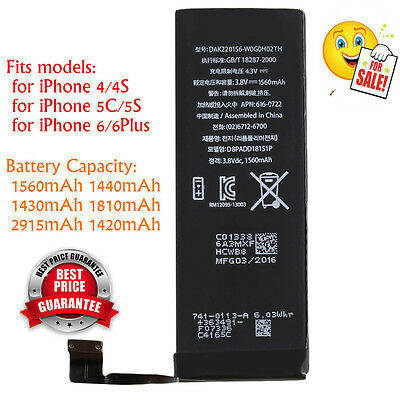 1560mAh Li-ion Battery Replacement with Flex Cable for iPhone 5S/5C/6/6plus LU