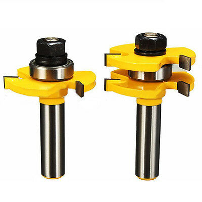 "2Pcs Matched Tongue Groove Router Bit 1/2"" Shank Woodworking Chisel Cutter Tool"