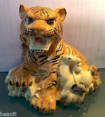 Chinese Zodiac Year of the Tiger 12 Lucky Animals Statue Figure Hand Carved.