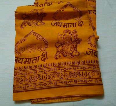 Hindu Orange Religious Shawl Throw Wrap Prayers Jai Mata Di Mantras Meditation