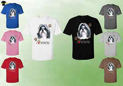 Unisex Shih Tzu Dog T-Shirts - I Love My Shih Tzu Dog T-Shirt Puppy (07783HD4)