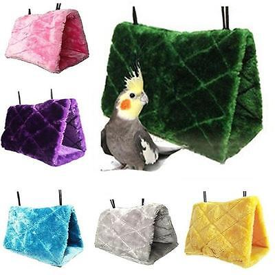 Plush Bird Parrot Pet Hammock Hanging Happy Hut Tent bed Cave Cage Snuggle Toys