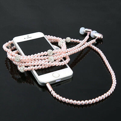 Fashionable Jewelry pearl Necklace Earphones Mic Beads 3.5mm In-ear Headphone