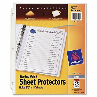 Avery Standard Weight Sheet Protectors, Pack of 25 Sheet Protectors 75530