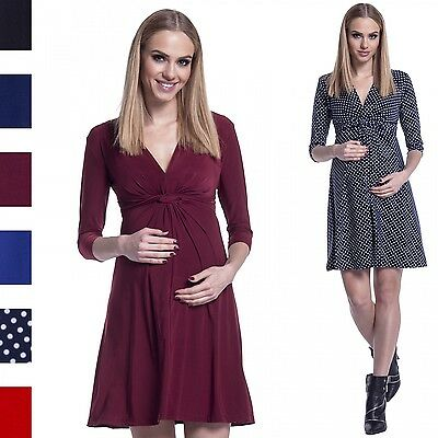 Happy Mama. Women's Maternity Knotted Silky Dress Pregnancy. 3/4 Sleeves. 067p