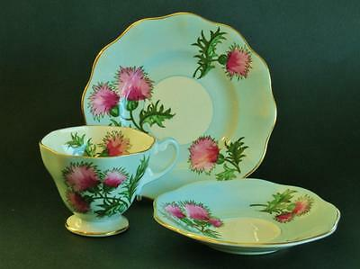 "Hand painted Vintage Foley England ""GLENGARRY THISTLE"" trio   High Tea."