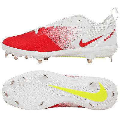 Nike BSBL Lunar Vapor Pro Metal Baseball Cleats Shoes White/Red 852696-617