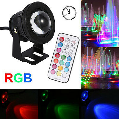 LED Underwater Spot Light RGB Garden Pool Pond Lamp 12V Waterproof With Remote Z