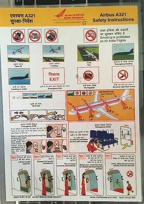 Safetycard Air India Airbus A321, January 2016
