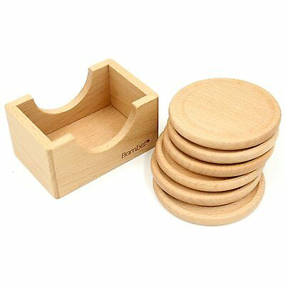 Beechwood Round Coasters Set of 6 with Holder Wood Tableware House Warming Gift