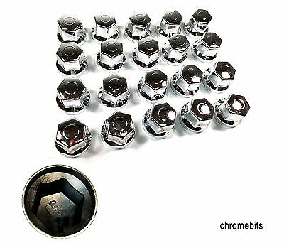 20 Pcs X 32 Mm Wheel Nut Cover Chrome  Caps For Mercedes Man Daf Scania Volvo