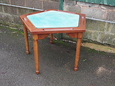 LOVELY VINTAGE SOLID WOOD 5 SIDED CARD / GAMES TABLE gaming poker