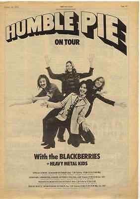 HUMBLE PIE On Tour Original A3 Poster size Advert clipping/cutting
