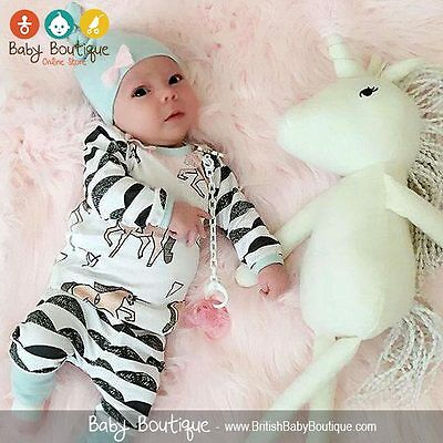Cute Baby Girl Unicorn Print Bodysuit Pants and Hat 3Pcs Set