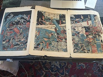 Asian Watercolour   Whimsical Triptych  Antique