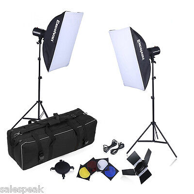 500W Strobe Studio Photography Photo Flash Light Kit Strobes Barn Doors Triggers