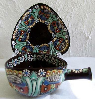 1880 Swiss JOHANN WANZENRIED antique THOUNE~Majolica Folk Art Pottery~Cup/Saucer