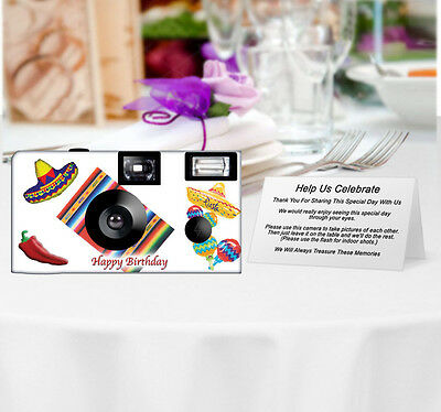 20 Fiesta Disposable Cameras-PERSONALIZE-wedding camera/anniversary