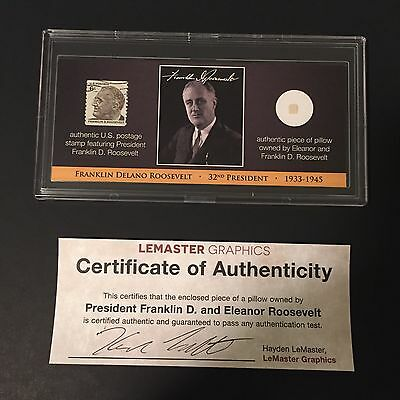 President Roosevelt FDR Eleanor Collectible White House Pillow Relic with COA