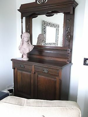 Antique Victorian/edwardian Dresser And Mirror Sideboard Immaculate With Key
