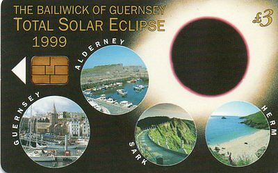 Phone Cards,Guernsey, 1 Card, Total Solar Eclipse 1999 , Issue no 1 GTDEF 204