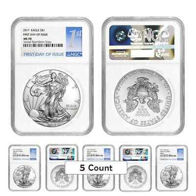 PRESALE - Lot of 5 - 2017 1 oz Silver American Eagle $1 Coin NGC MS 70 First Day