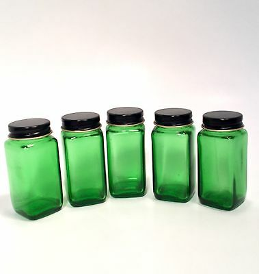 Lot of 5 Antique Emerald Green Glass DURAGLAS Apothecary Pharmacy Bottles