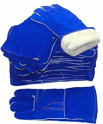 """Blue Cotton Lined Cowhide Welding Glove  14"""" Cuff Lot Of 6 Pair"""