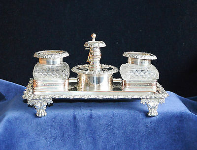 Antique Georgian Silver Plate on Copper Desk Ink Stand