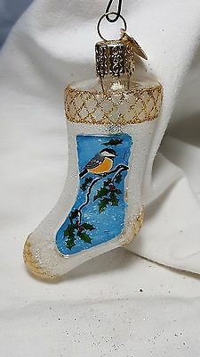 OWC Old World Christmas Stocking Ornament Clear Glitter Bird holly Glass