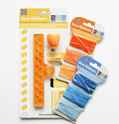WE R MEMORY KEEPERS SEW RIBBON Punch and Stencil Shoelace + 2x Set Ribbons
