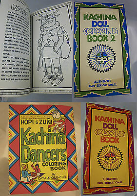 (3) Lot VTG Kachina Doll Dancers Colring Books Donna Greenlee Day-Ga-Khle-Chee