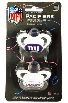 Baby Fanatic 2 Piece Pacifier Set, New York Giants