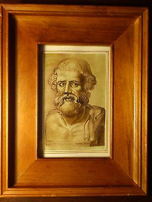 Old Master Drawing Portrait of a bearded man Wooden frame
