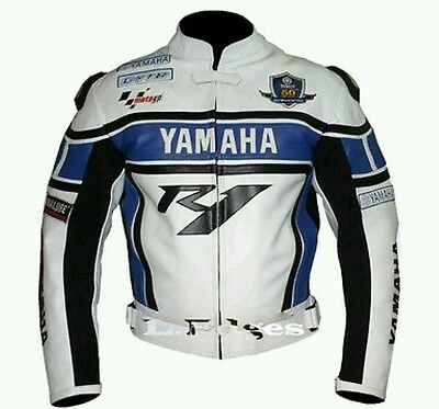 Yamaha R1 Blue Motorbike/motorcycle Leather Jacket -Ce Approved Full Protection