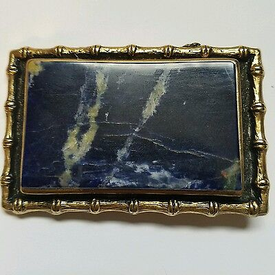 VINTAGE NEW 1970s BRASS BELT BUCKLE with blue and white stone b1