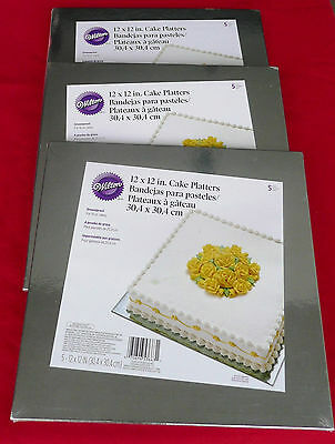 "FIFTEEN (15) Wilton 2104-0663, 12"" Silver Cake Platters, Square, 070896536631"